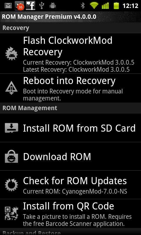 Rom Manager v2.5.0.7 (Android)